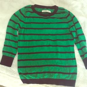 Green and navy striped sweater